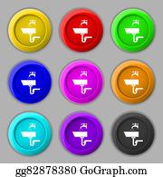 Nectarine - Washbasin Icon Sign. Symbol On Nine Round Colourful Buttons.