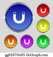 Gravity-Field - Magnet Sign Icon. Horseshoe It Symbol. Repair Sign. Set Of Colored Buttons