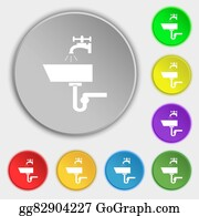 Nectarine - Washbasin Icon Sign. Symbols On Eight Flat Buttons.