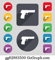 Long-Gun - Gun Icon Sign. A Set Of 12 Colored Buttons And A Long Shadow. Flat Design.