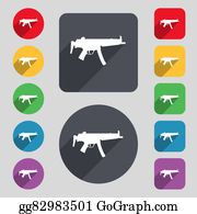 Long-Gun -  Machine Gun Icon Sign. A Set Of 12 Colored Buttons And A Long Shadow. Flat Design.