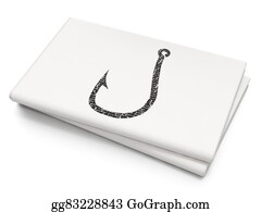 Fishhook - Safety Concept: Fishing Hook On Blank Newspaper Background