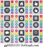 House-Alarm-Concept-Icon - Alarm Clock, House, Hand, Retro Phone, Gear, Snowflake, Chat Bubble, Marker, Heart Icon Symbol. A Large Set Of Flat, Colored Buttons For Your Design.