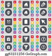 House-Alarm-Concept-Icon - Globe, House, Pencil, Alarm Clock, Battery, Cursor, Survey, Cup, Question Mark Icon Symbol. A Large Set Of Flat, Colored Buttons For Your Design.