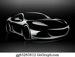 Vector Art Supercar Vehicle Silhouette Eps Clipart