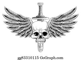 Military-Eagle-Emblem - Woodcut Winged Skull Sword Insignia