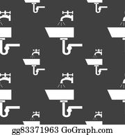 Nectarine - Washbasin Icon Sign. Seamless Pattern On A Gray Background.