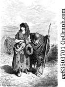 Granddaughter - A Centennial And Her Granddaughter Beggar In Berja, Vintage Engraving.