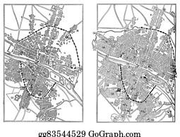 Reign - Map Of Paris Under Henri Iv And Paris In The Advent Of Louis Xiv, Vintage Engraving.