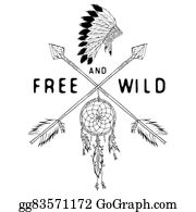 Dream-Catcher - Dream Catcher And Crossed Arrows, Tribal Legend In Indian Style With Traditional Headgeer. Dreamcatcher With Bird Feathers And Beads. Vector Vintage Illustration, Letters Free And Wild. Isolated