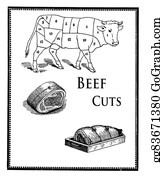 Butchers-Meat - Food Engraving,beef Cuts And Meat Preparation