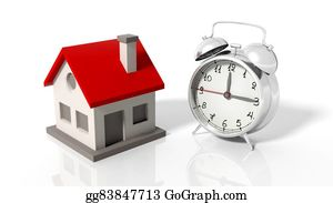 House-Alarm-Concept-Icon - House Icon With Alarm Clock, Isolated On White Background