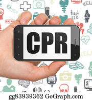 Cpr - Medicine Concept: Hand Holding Smartphone With Cpr On Display