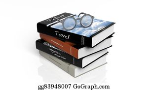 Medical-Textbook - Eyeglasses Set On Stack Of Books,isolated On White Background.