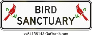 Cardinal-Bird - Road Sign Used In The Us State Of Virginia - Bird Sanctuary