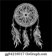 Dream-Catcher - Monochrome Dream Catcher With Feathers