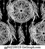 Dream-Catcher - Monochrome Seamless Pattern Dream Catcher With Feathers