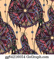 Dream-Catcher - Color Seamless Pattern Dream Catcher With Feathers