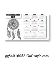 Dream-Catcher - Monochrome Horizontal Calendar Of Dream Catcher With Feathers