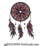 Dream-Catcher - Color Dream Catcher With Feathers