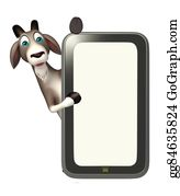 Goat-Cartoon - Fun Goat Cartoon Character With Mobile