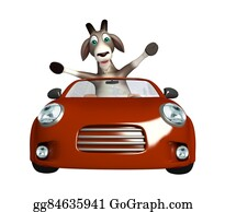 Goat-Cartoon - Fun Goat Cartoon Character With  Car