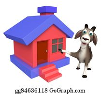 Goat-Cartoon - Goat Cartoon Character  With Home