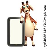 Goat-Cartoon - Goat Cartoon Character With Mobile