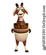 Goat-Cartoon - Goat Cartoon Character With Cake