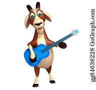 Goat-Cartoon - Fun Goat Cartoon Character With Guitar