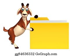 Goat-Cartoon - Goat Cartoon Character With Folder