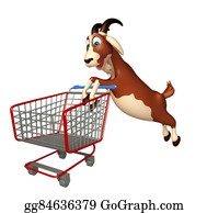 Goat-Cartoon - Cute Goat Cartoon Character With Trolly