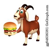 Goat-Cartoon - Fun Goat Cartoon Character With Burger