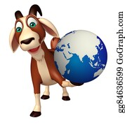 Goat-Cartoon - Goat Cartoon Character With Earth