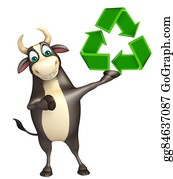 Plant-Life-Cycle - Bull Cartoon Character  With Recycle Sign