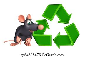 Plant-Life-Cycle - Fun Rat Cartoon Character With Recycle