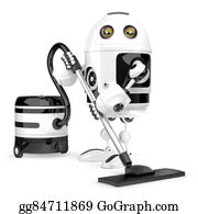 Hoover - Robot Cleaner. Technology Concept. Isolated. Contains Clipping Path