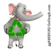 Plant-Life-Cycle - Fun  Elephant Cartoon Character With Recycle