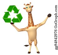 Plant-Life-Cycle - Giraffe Cartoon Character With Recycle
