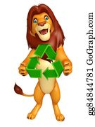 Plant-Life-Cycle - Fun Lion Cartoon Character With Recycle