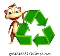 Plant-Life-Cycle - Cute Monkey Cartoon Character With Recycle
