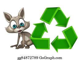 Plant-Life-Cycle - Fun Raccoon Cartoon Character With Recycle
