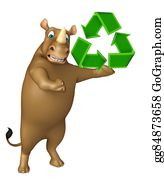 Plant-Life-Cycle - Fun Rhino Cartoon Character With Recycle