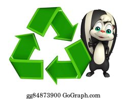 Plant-Life-Cycle - Skunk Cartoon Character With Recycle