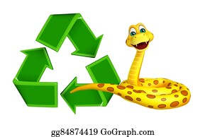 Plant-Life-Cycle - Cute Snake Cartoon Character With Recycle