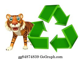 Plant-Life-Cycle - Cutetiger Cartoon Character With Recycle Sign