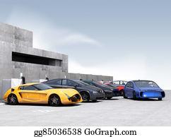 Car-Lot - Blue Electric Car In Parking Lot