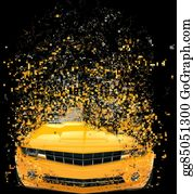Muscle-Car - Yellow Muscle Car - Pixels