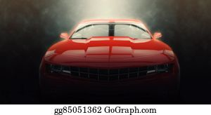 Muscle-Car - Red Muscle Car - Epic Lighting Shot