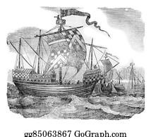Reign - British Ships During The Reign Of Edward Iv, Vintage Engraving.